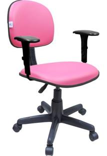 Cadeira Secretária Giratória Com Braços Couro Ecológico Rosa
