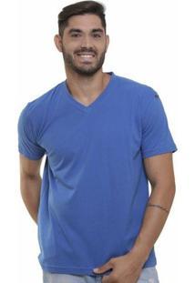 Camiseta Decote V Masculina - Masculino-Azul