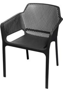 Cadeira Net Nard Empilhavel Polipropileno Com Braco Cor Preta - 53567 - Sun House