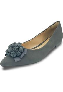 Sapatilha Anyp Shoes Confort Bico Alongado Cinza Camurça Com Laço