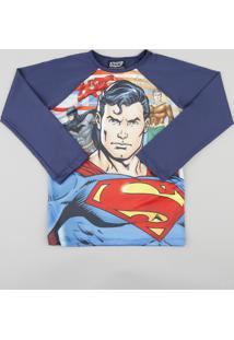 Camiseta Infantil Super Homem Liga Da Justiça Manga Longa Com Proteção Uv50+ Azul Marinho
