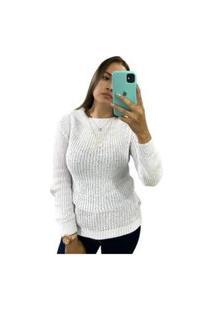 Blusa Feminina De Tricô Grosso Inverno Moda Gola Branco