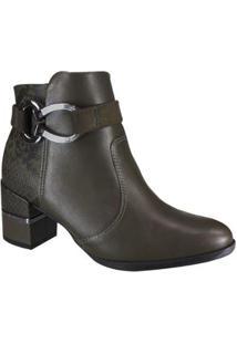 Bota Comfortlex Ankle Boot Feminina - Feminino-Verde Militar