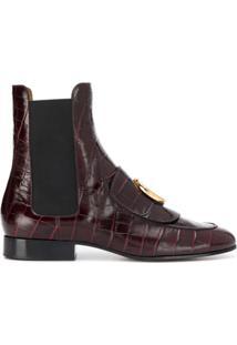 Chloé Ankle Boot Com Efeito Croco - Roxo