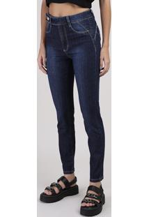 Calça Jeans Sawary Cigarrete Levanta Bumbum Cintura Média Azul Escuro
