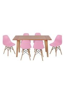Conjunto Mesa De Jantar Em Madeira 150X80 Vértice + 6 Cadeiras Eiffel - Rosa