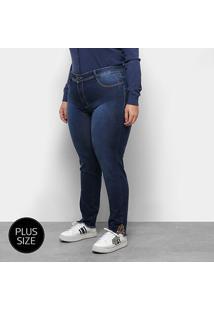 Calça Jeans Sawary Cigarrete Plus Size Onça Feminina - Feminino