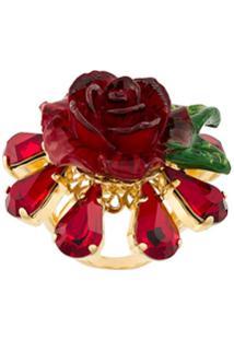 Dolce & Gabbana Anel De Rosa Com Cristais - Vermelho