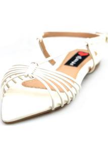 Sandalia Love Shoes Salomé Rasteira Bico Folha Tirinhas Off White - Tricae