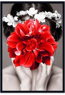 Quadro 60X90Cm Helena Mulher Com Flor Vermelha Nórdico Moldura Preta Com Vidro