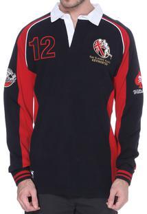 Blusa Kevingston Brunswick Rugby England Moletom Marinho E Vermelho Gola Polo
