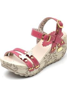 Sandalia Top Franca Shoes Betina Beker Plataforma Anabela Feminina - Feminino-Rosa