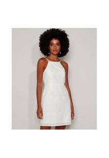 Vestido De Laise Feminino Curto Halter Neck Off White