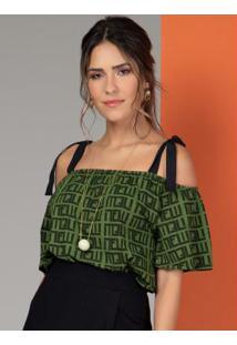 Blusa Com Alças Para Amarrar Geométrico Verde