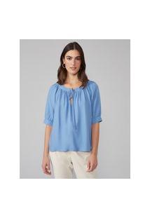 Amaro Feminino Blusa Decote Canoa Amarração, Azul Claro