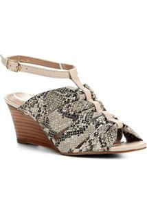 Sandália Anabela Couro Shoestock Drapeado - Feminino-Off White