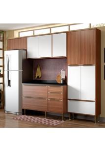Cozinha Compacta Com Tampo 11 Portas 5458 Nogueira/Branco - Multimóveis