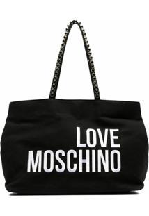 Love Moschino Bolsa Tote Com Logo Bordado - Preto