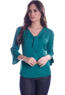 Blusa Lisa Verde Com Lacinho - Kanui