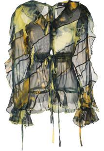 Asai Blusa Tie Dye Com Transparência - Verde