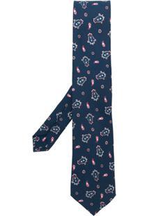 Etro Gravata De Seda Com Estampa Paisley - Azul