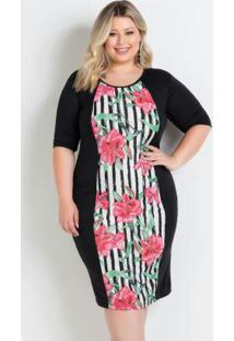 Vestido Midi Floral Preto Plus Size