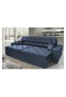 Sofá Austin 3,02M Retrátil Reclinável, Molas No Assento E Almofadas, Tecido Suede Velusoft Azul