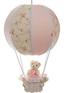Lustre Balão Bolinha Ursa Quarto Bebê Infantil Menina Potinho De Mel Rosa