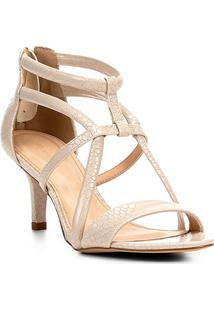 Sandália Couro Shoestock Salto Fino Tiras Cobras Feminina - Feminino-Off White