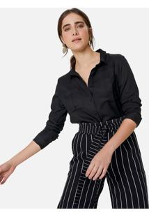 Amaro Feminino Camisa Com Detalhe De Fenda No Punho, Preto