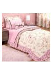 Cobre Leito Solteiro Infantil Menina Estampado 4 Peças Com Porta Travesseiro E Almofada Decorativa