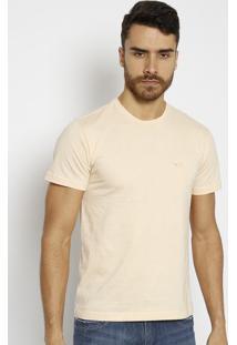 Camiseta Slim Com Bordado - Amarelo Claro - M. Officm. Officer