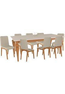 Conjunto Sala De Jantar 8 Cadeiras Lins Mesa Tampo De Vidro 200Cm Fritz Champagne/Off White Linho Bege - Gran Belo