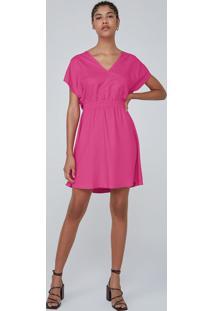 Vestido Curto Evasê Em Tecido De Viscose - Rosa