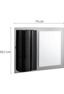 Espelheira Diamante Para Banheiro Astra 2 Prateleiras Fumê