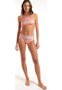 Calcinha Rosa Chá Kate Waves Beachwear Estampado Feminina (Estampa Waves, Gg)