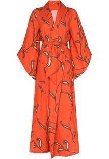 Johanna Ortiz Caoba Paisley-Print Linen Kimono - Laranja