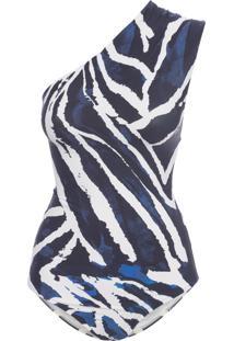 Maiô Ombro Drapeado - Azul