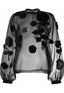 Dolce & Gabbana Blusa Translãºcida Com Bordado Floral - Preto