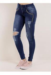 Calça Jeans Skinny Feminina - Feminino-Azul