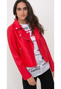 Jaqueta Lisa Em Material Sintético