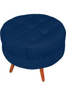 Puff Decorativo Botonê Yasmin Suede Azul Marinho Pés Palito - D'Rossi