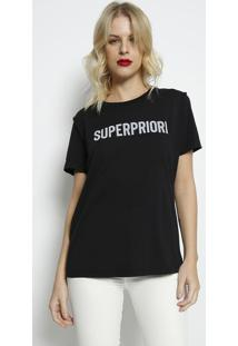 """Camiseta """"Superpriori""""- Preta & Off White- Forumforum"""
