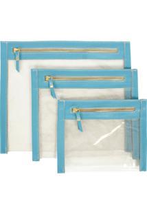Kit Necessaire De Couro Yasrro Cristal Azul