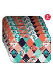 Jogo Americano Love Decor Wevans Flamingos Triângulos Kit Com 6 Pçs