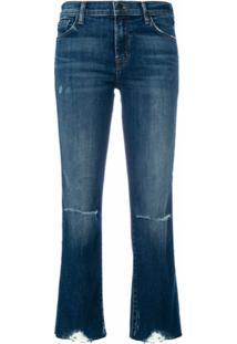 J Brand Calça Jeans Cropped Destroyed - Azul