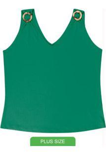 Blusa Sem Manga Com Decote V Verde
