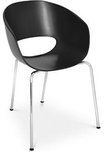 Cadeira Hamburgo- Preta & Prateada- 81X49X53Cm- Falkk