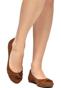 Sapatilha Couro Shoestock Nó Feminina - Feminino-Caramelo