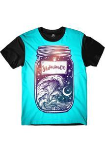 Camiseta Bsc Longline Pote Do Verão Sublimada Preta Turquesa